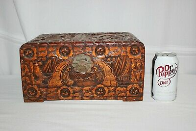Vintage Chinese Carved Camper Wood Box Trunk Hong Kong Hung Hop Oriental Chest