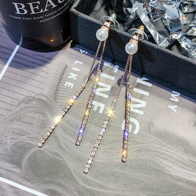 Earrings Crystal Long Tassel Drop Silver Rhinestone Wedding Pearl Jewelry