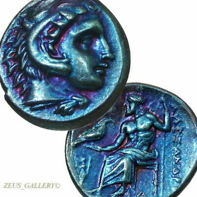 ALEXANDER the Great LIFETIME Issue AU R! Ancient Greek Silver coin Herakles Zeus