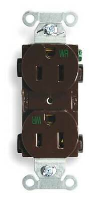 HUBBELL WIRING DEVICE-KELLEMS BR15WR 15A Duplex Receptacle 125VAC 5-15R BN