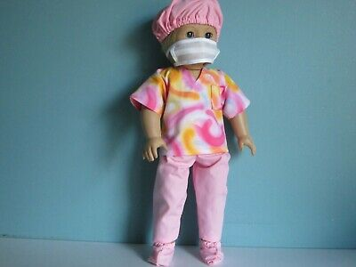 PINK DOCTOR or NURSE SCRUB SET fits American Girl includes Cap & Shoe Covers