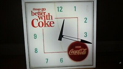 RARE Vintage 1960's Better With Coke Coca-Cola Light-Up Clock Hanover Working!