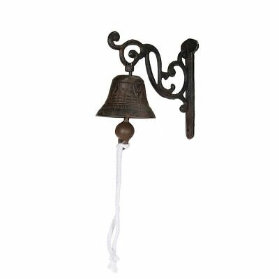 Vintage Antique Cast Iron Door Wall Bell Chime Wall Mounted Rust Garden Decor On