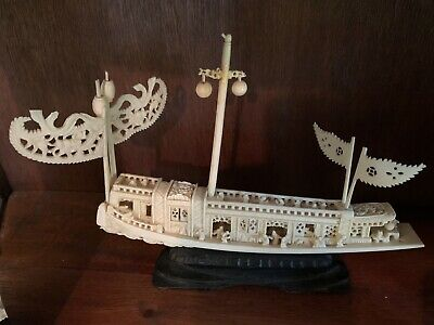 Antique Ornate Hand Carved Chinese Boat Micro Miniature People ~ Wood Base