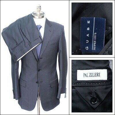 NWT PAL ZILERI Italy Charcoal Gray Striped Super 130's Wool Suit 48 8L 38 L