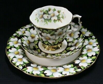 1975 Royal Albert Provincial Flowers Dogwood Chintz Trio Cup Saucer Plate