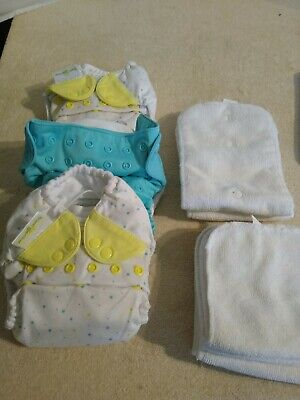 Lot of 3 Bumgenius Reuseable Pocket Diapers with liners and Extra Liners