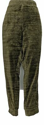 Denim & Co. Women's Pants Sz XL Active Velour Ribbed Cuff Olive Green A300807