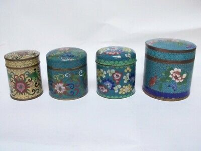 4 Chinese Cloisonne Brass Box Jar Flowers Blue Green Yellow Signed China NR