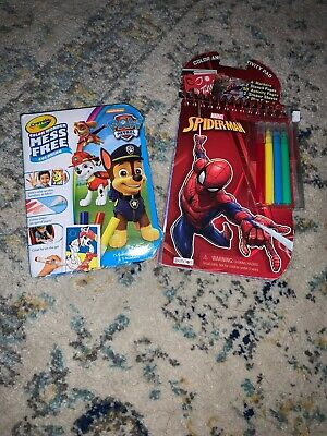 Lot of (2) Kids Coloring & Activity Books With Crayons- Paw Patrol & Spider Man