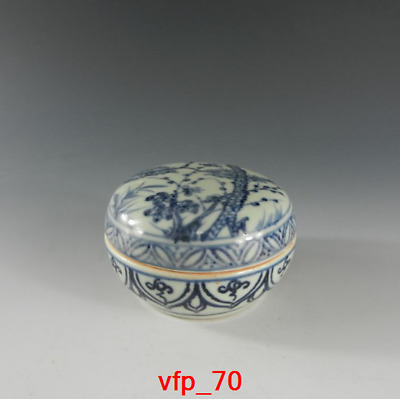 China antique Yuan Dynasty Blue and white Song Zhu Plum pattern Inkpad box s207
