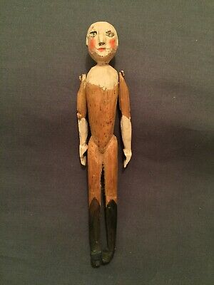 "Antique 6"" Queen Anne Hand Carved Wooden Folk Art Doll w/Peg Arms"