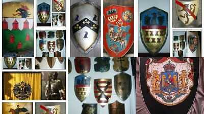 YOUR Coat of Arms Crest Handpainted Medieval Shield Heraldic New  Custom Order
