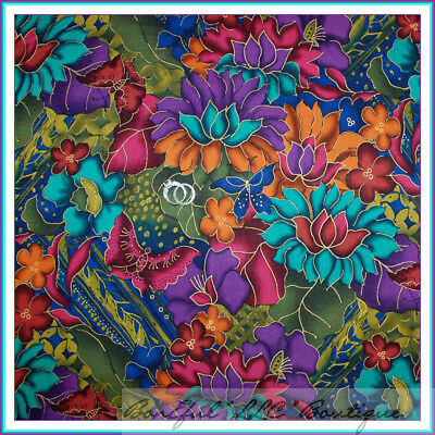 BonEful Fabric Cotton Quilt Rainbow Color Gold Bright Flower Butterfly New SCRAP