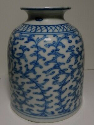 EARLY 19THC Antique CHINESE QING BLUE WHITE SCROLLING LOTUS Vase
