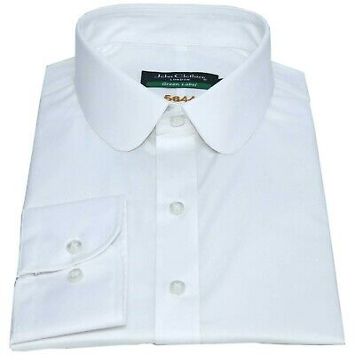 Peaky Blinders White Mens shirt Penny Collar Cotton Formal Round Club Gents meet