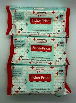 Fisher Price Baby Wipes 3 Pack 80ct Aloe Vera And Chamomile Alcohol Free