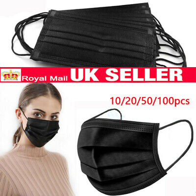 Unisex Earloop Face Cloth Salon Dust Cleaning Medical 3Ply Black UK