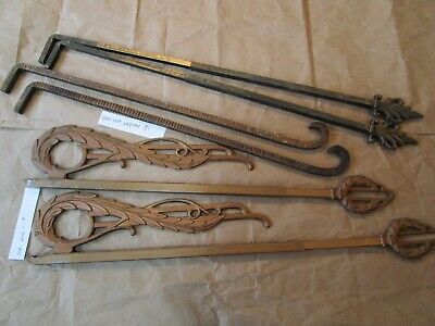 3 Antique Swing Arm Curtain rods mix lot Early 1900s