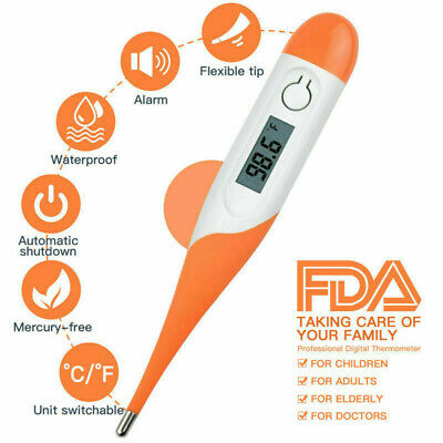 Electronic Digital LCD Thermometer Medical Baby Adult Body Safe Soft Fast