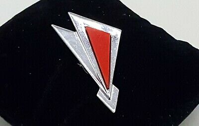 Jakob Bengel Art deco chromed metal and red galalith dress clip.