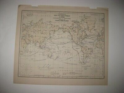 Antique 1873 World Commercial Map Maritime Ocean Lines Asia United States Hawaii