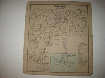 Antique 1873 Wooster Township New Prospect Wayne County Ohio Handcolored Map Nr