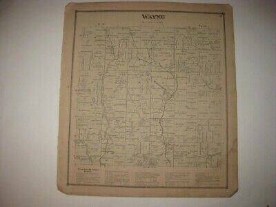 Antique 1873 Wayne Township Madisonburg Wayne County Ohio Handcolored Map Rare