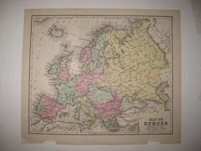 Superb Cond. Antique 1873 Europe Handcolored Map Russia Germany Prussia Italy Nr