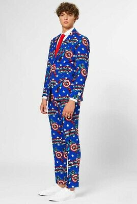 OppoSuits Men's Party Suit Sz 44 Captain America Included Jacket & Tie & Pants