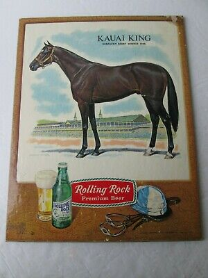 antique adv. sign rolling rock beer 10.5in.by 13.5in.race horse Kauai king