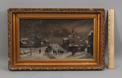 Antique LOUIS MALBRANCHE French Winter Snow Country Night Time Oil Painting