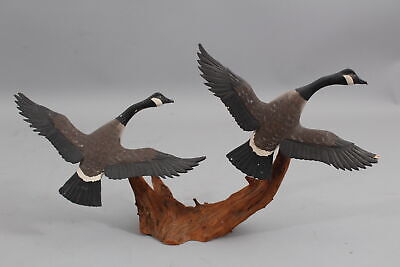 Authentic RUSS BURR Folk Art Miniature Carved & Painted Wood Canadian Geese NR