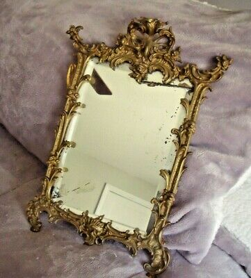 """ANTIQUE Ornate Brass Bevel Table MIRROR Stand 14"""" X 10"""" Floral Art Deco 1800's"""