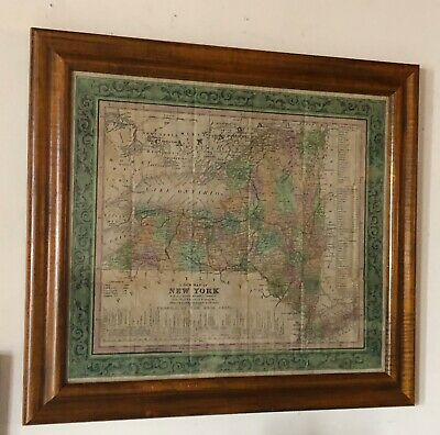 19th C. Map of New York State Antique ORIGINAL MAP Framed