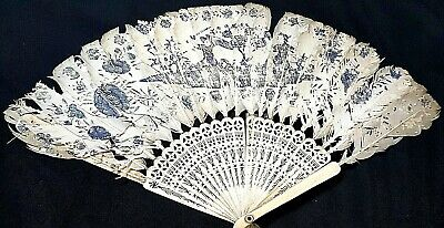 Lovely Antique Chinese Carved Brise Bovine Bone Hand Painted Fan c 1890