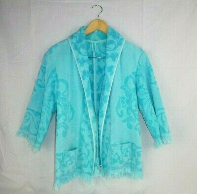 Vtg 60s Terry Cloth Towel Jacket Beach Cover Up Aqua Turquoise M/L