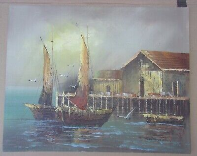 Vintage Nautical Painting Of Ships In The Harbor Signed Winston 16 X 20 Inches
