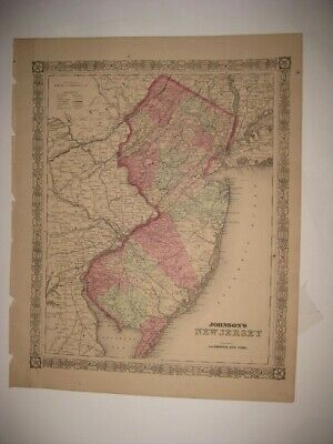 Huge Antique 1866 New Jersey Johnson Handcolored Map Railroad Canal Princeton Nr