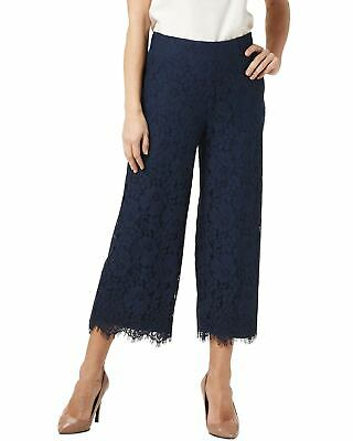 Isaac Mizrahi Live! Womens Floral Lace Knit Culotte Pants Small Navy A353075