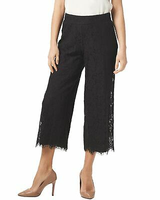 Isaac Mizrahi Live! Womens Tall Floral Lace Knit Culotte Pants XS Black A353086