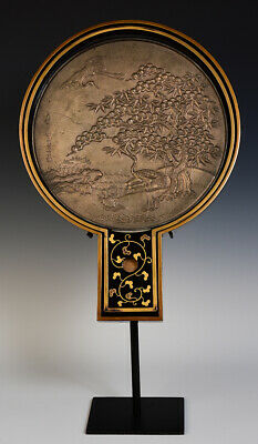 Early 20th Century, Showa, Antique Japanese Bronze Mirror with Case and Stand