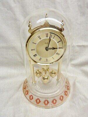 fantastic kundo germany anniversary clock quartz with glass base and dome /works