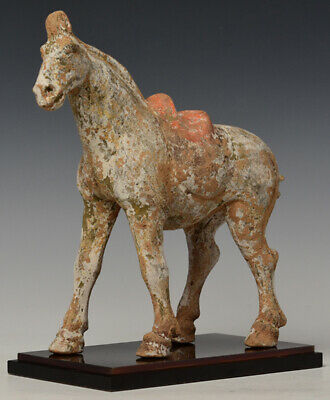 Tang Dynasty, Antique Chinese Painted Pottery Walking Horse