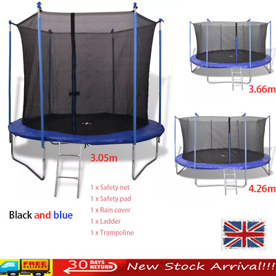 10/12/14 ft Large Trampoline Internal Safety Net Enclosure Rain Cover Ladder