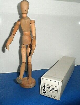 """1990s 12"""" WOODEN ARTISTS MANIKIN JOINTED MALE MODEL WITH STAND SKETCH ART DRAW"""