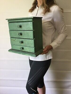 Australian 1900s MINIATURE Furniture Four Drawer CHEST Green Apprentice RUSTIC