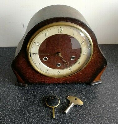 Vintage Smiths Westminster chimes mantel clock with pendulum & key