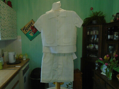 Vintage Long Childs  Christening Top Waistcoat And Shorts By Pretty Originals