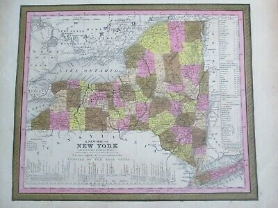1847 Mitchell Map of New York * Original Antique! A39